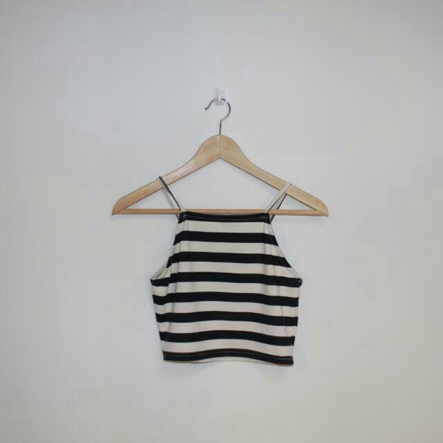 Black And White Striped Cropped High Neck Top