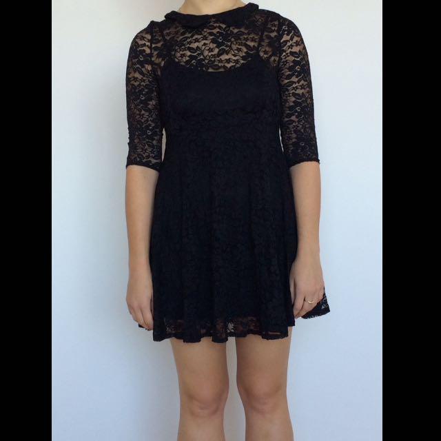 Black Lace Mid Length Dress