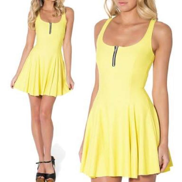 Black Milk DUPE Matte Yellow Zip Skater Dress. Size S