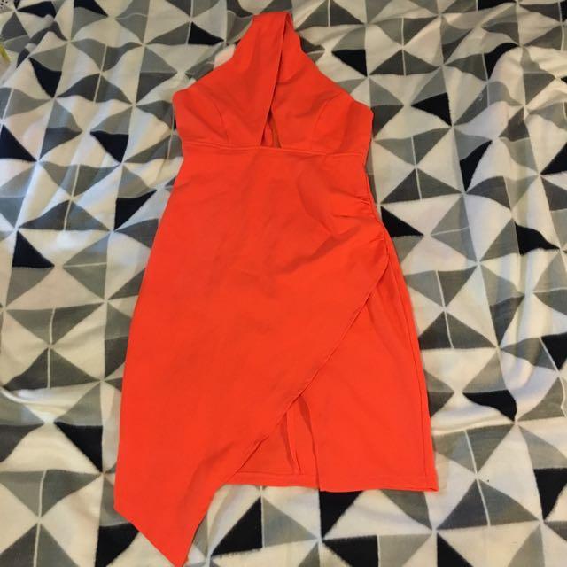 Bright Orange Asymmetrical Dress. Size 8