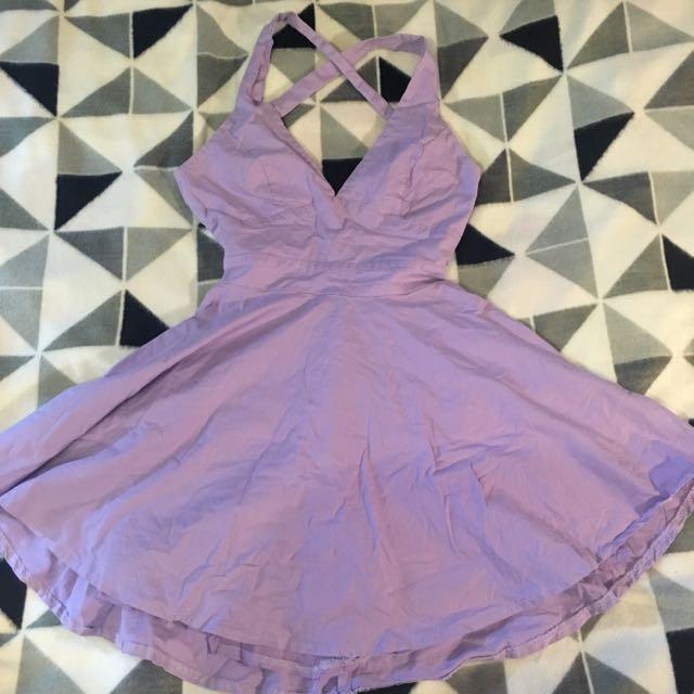Lavender-purple Halter Skater Dress. Size 8