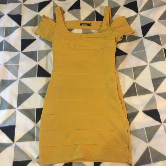 Mustard-Yellow Bandage Style Dress. Size 8