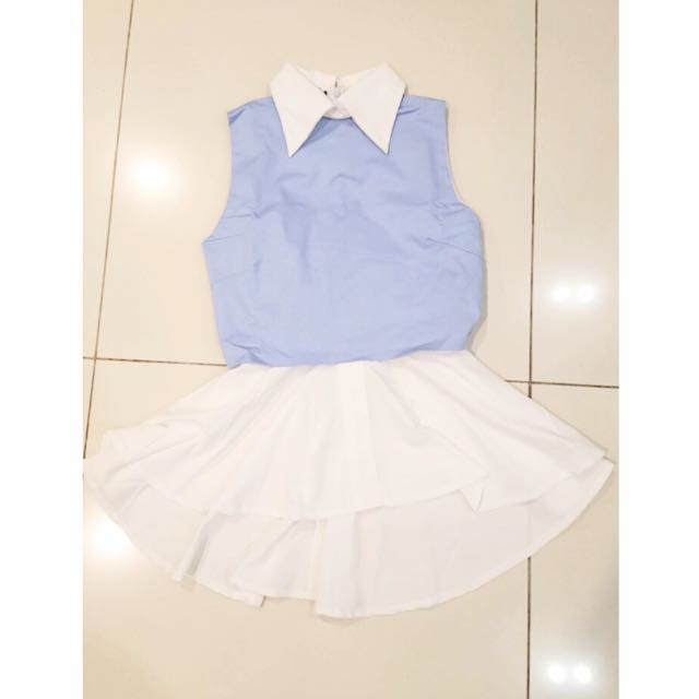 NEW Collar Neck Top Baby Blue