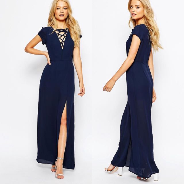 ASOS | Plunge Tie Front Maxi Dress With Thigh Split