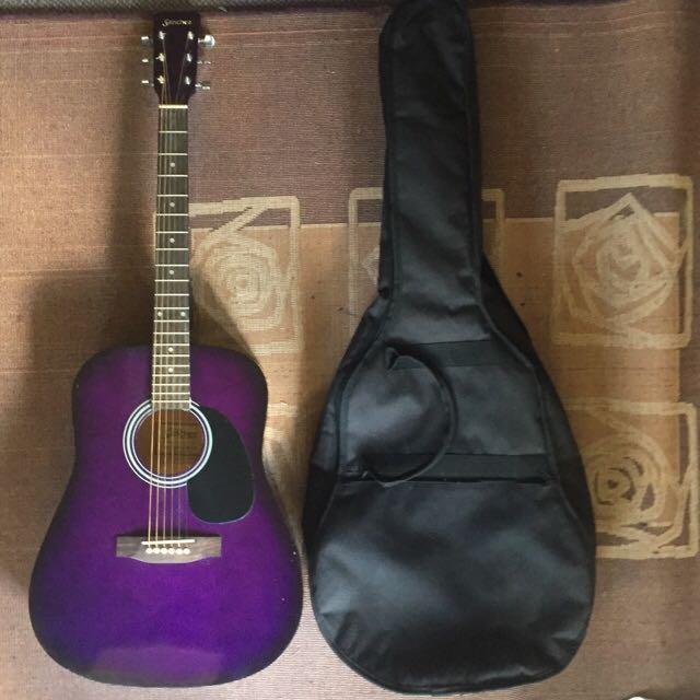 Purple Sanchez Guitar And Case