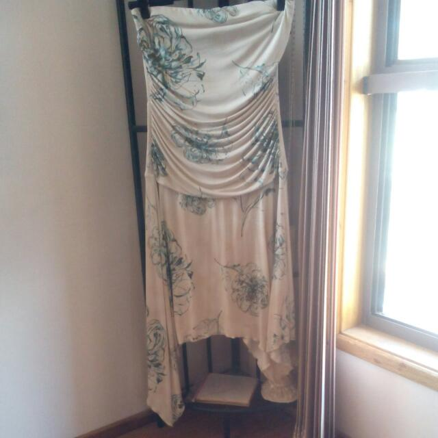 Strapless Sheike Dress With Asymmetrical Hem