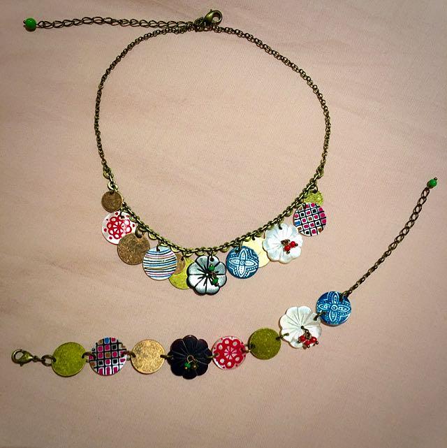 Traditional Pattern Necklace And Bracelet Set