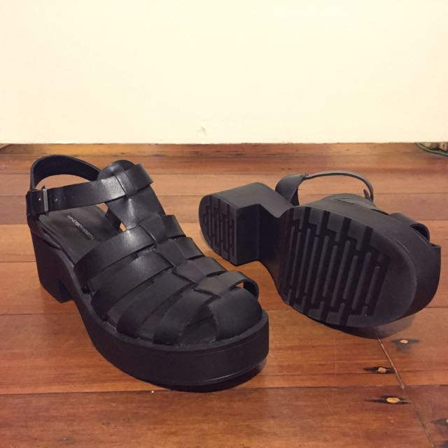 Windsor Smith Lily Black Leather Sandals