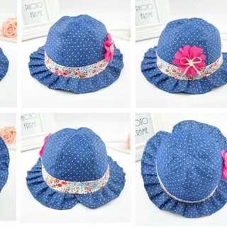 韓版寶寶牛仔點點小花盆帽漁夫帽遮陽帽女童帽