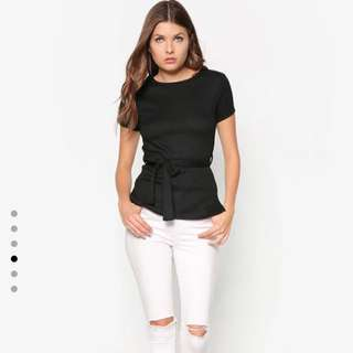 Dorothy Perkins Black Rib Belted Top