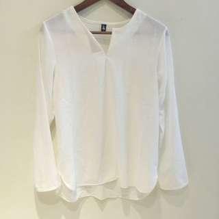氣質雪紡小V上衣 白色