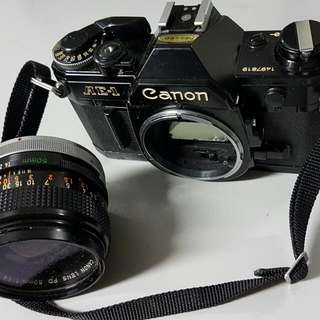 Canon AE-1 with lens