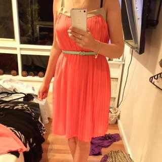 Coral Chiffon Dress Size S/m
