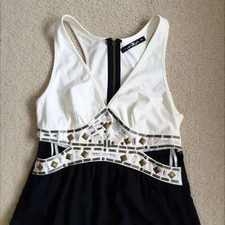 Formal Evening White Black Maxi Dress
