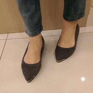 轉賣韓國賣家rei shop 灰色麂皮平底淺口便鞋