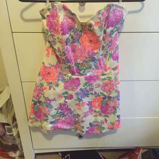 Long Strapless Floral Top
