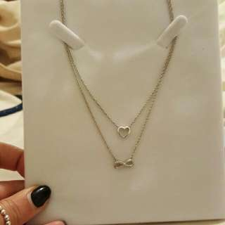Sterling Silver And Real Diamonds Double Necklace 45 Cm Chain