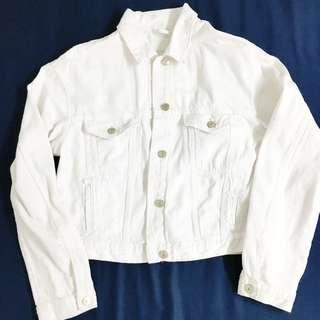 ZARA 洗舊感白色牛仔外套