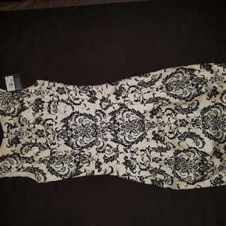Brand New Black And White Pattern Dress Size 8