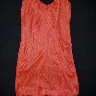 Strapless Orange Dress Size 8