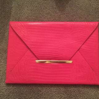 Forever New Hot Pink Envelope Clutch