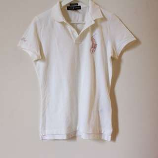 Ralph Lauren Skinny Polo White And Pink