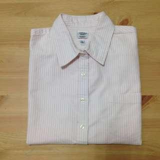 粉白條紋牛津布襯衫