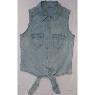 Denim Tie-up Collared Vest