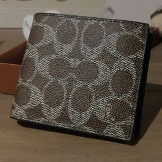 Coach Compact ID Mens Wallet In Bark Colour