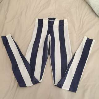 Black Milk Wet Look Sailor Leggings. Size XS