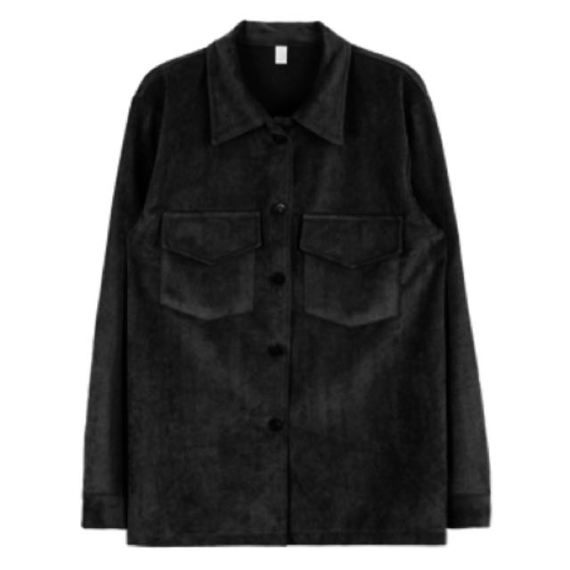🇰🇷 Mixxmix 黑色麂皮雙口袋翻領夾克外套