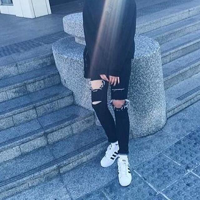 黑色破壞牛仔褲(免運)