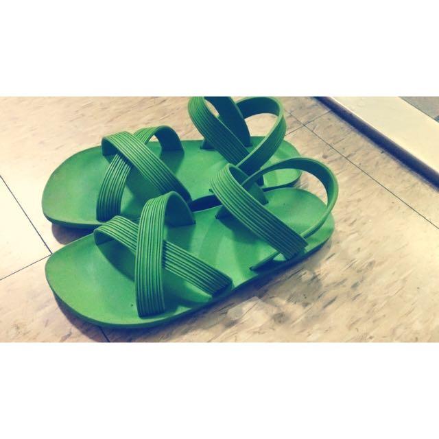 綠色海灘復古原宿軟膠涼鞋