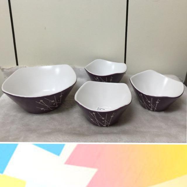 陶瓷印花 沙拉碗組(一大3小)