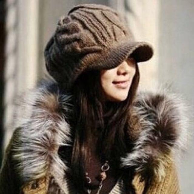咖啡保暖貝蕾毛帽保暖 二手