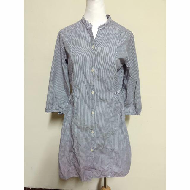 🎀日牌 直條紋縮腰長版襯衫🎀
