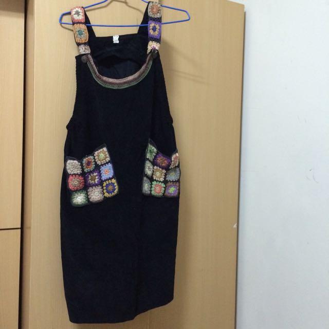 日本製 超可愛工人裙 背心裙 吊帶裙 花