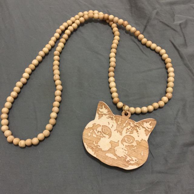 木質 貓咪 小貓 貓頭 珠珠 項鍊
