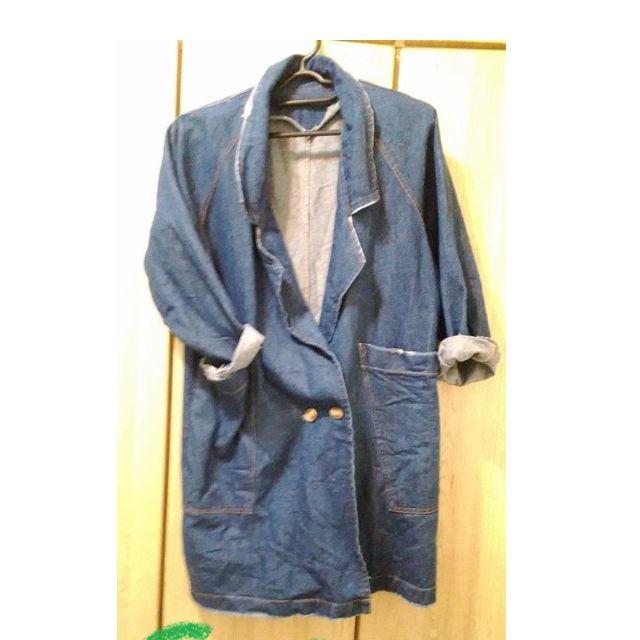 深藍牛仔外套 西裝外套 復古 oversize 長版