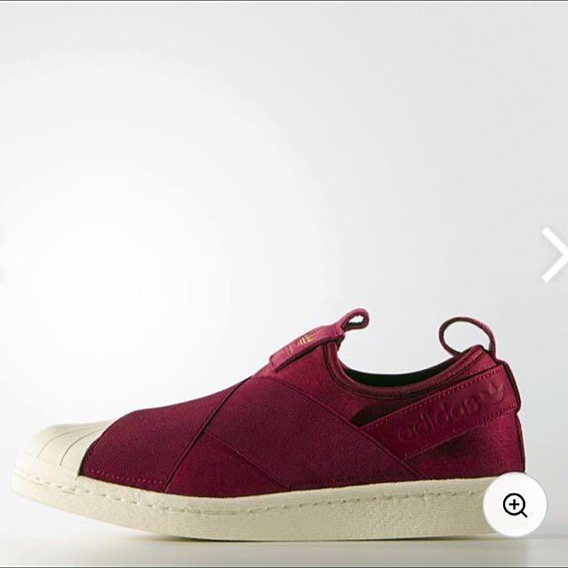 Adidas Slip On 酒紅 內有實圖
