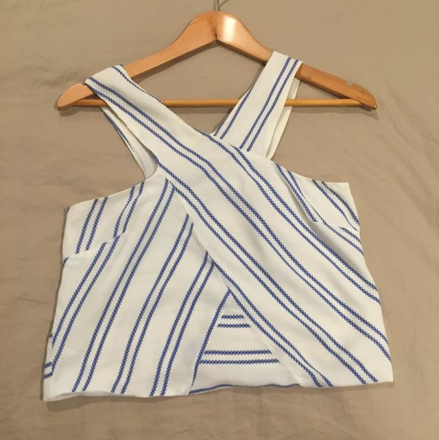 Blue and White Mid Crop