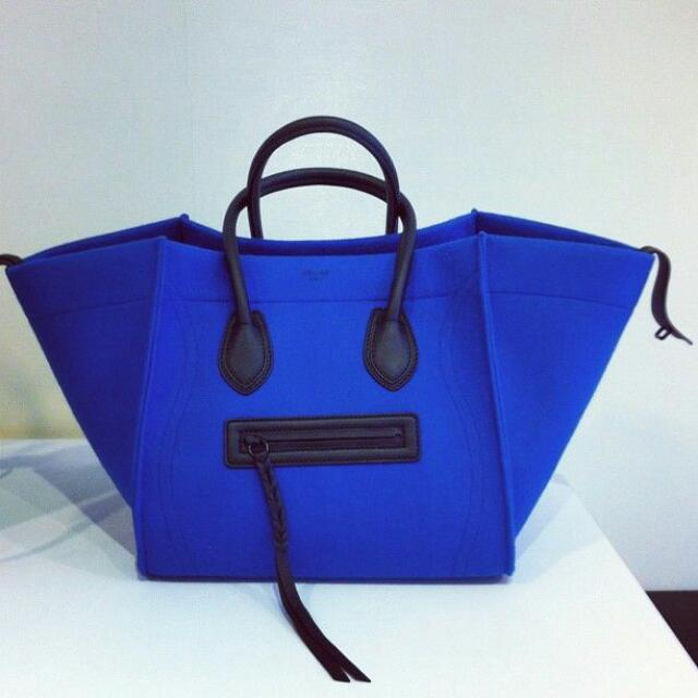 e412a911be Celine Rare Blue Phantom large luggage felt tote
