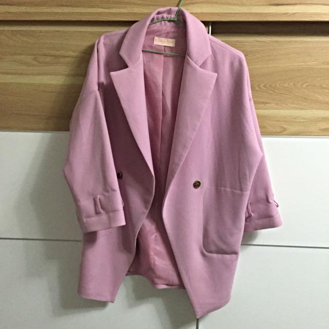小首爾商行dazzlingdazzaling 馬卡龍粉西裝寬版外套