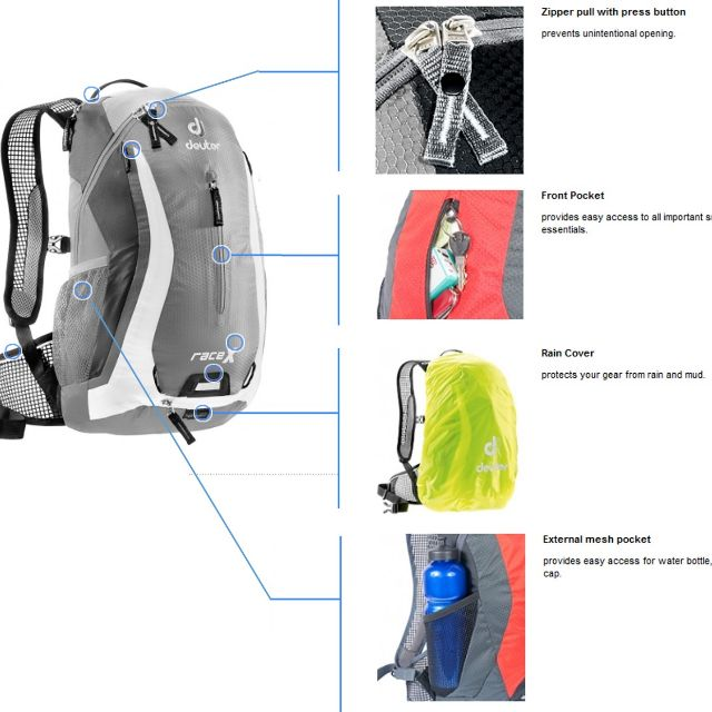 Deuter Race X - Granite White (Tas Ransel/Tas Ransel Sepeda/Backpack)