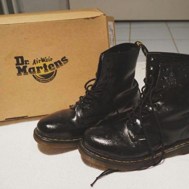 Doc Martens Black Flower Print Boots