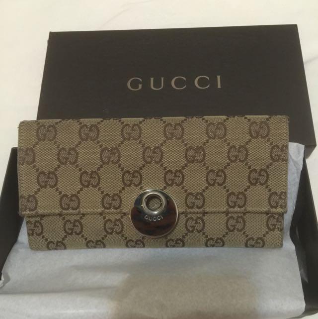 真品Gucci LOGO緹花布長夾(超讚絕版隔層)