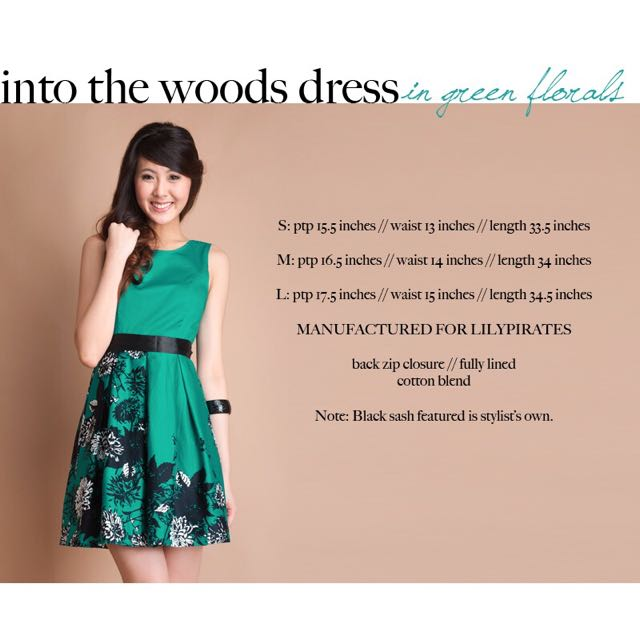 Lilypirates Into The Woods Dress in Green Florals [M]