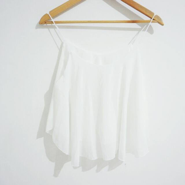 New! Ruffle Top In White