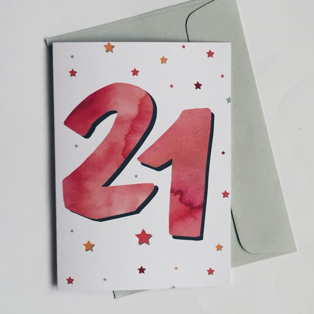 Red 21st Card
