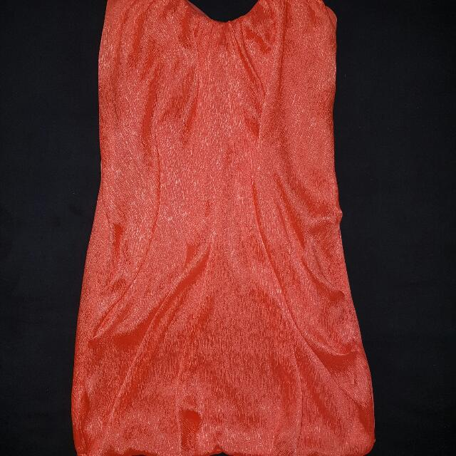 Strapless Orange Dress Size 8